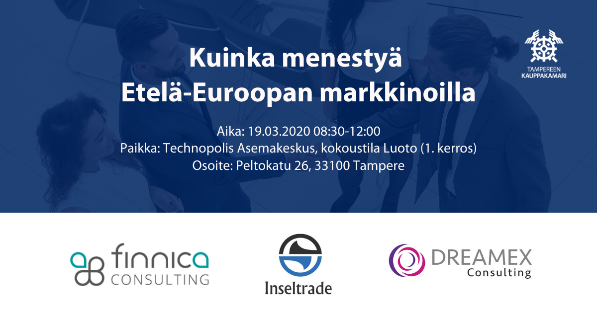 """Workshop """"How to succeed in the Southern European markets"""" in Tampere"""